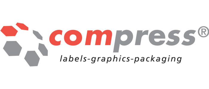 compress labels, graphics and packaging logo